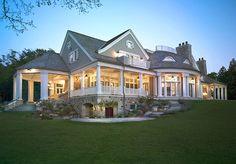 Shingle Style Lake Home - Rear Elevation #wadeweissmannarchitecture