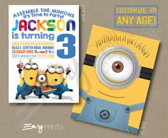Minions Birthday Invitation Digital Printable Custom Despicable Me Invitation Personalized Minions Despicable Me