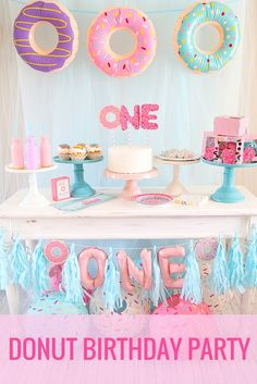 Donuts are a fun birthday party theme! Who doesn't love donuts (more than we should)? These cute Donut Party Supplies available at Oriental Trading make throwing a Donut First Birthday Party a real treat! @partyplanits styled ideas perfect for girls and boys with pastel baby colors.