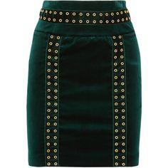 Pierre Balmain Embellished cotton-blend velvet mini skirt (£284) ❤ liked on Polyvore featuring skirts, mini skirts, balmain, emerald, eyelet skirt, velvet skirt, zip skirt, short mini skirts and zipper mini skirt