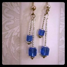 "Sapphire blue Swarovski crystal earrings Beautiful sapphire blue square Swarovski crystal earrings. Measures approximately 1 1/2"" long.  Matching bracelet available Jewelry Earrings"