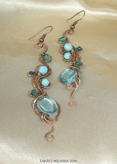 Copper wire earrings with glass beads Wire Wrapped Earrings, Wire Earrings, Sea Flowers, Wire Work, Copper Wire, Wire Wrapping, Turquoise Necklace, Glass Beads, Handmade Jewelry