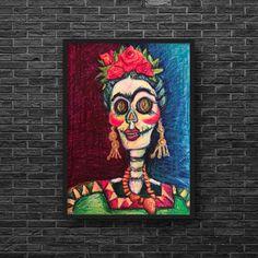 Halloween Home Decor, Halloween House, Sennelier Oil Pastels, Linocut Prints, Art Prints, Day Of The Dead Art, Skeleton Art, Arches Paper, Pastel Drawing