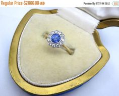 OnSALE Ceylon Sapphire and Diamond Engagement Ring - 18k Gold and Platinum, Daisy Flower Ring by VintageInBloom on Etsy https://www.etsy.com/listing/256393708/onsale-ceylon-sapphire-and-diamond