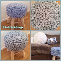 Hoesje voor krukje Crochet Books, Crochet Home, Cute Crochet, Crochet Bedspread Pattern, Crochet Cushions, Crochet Patron, Stool Covers, Diy Pillows, Creative Inspiration