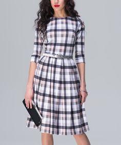 Look at this #zulilyfind! Gray & Beige Plaid Dress by JET #zulilyfinds