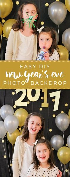This simple and easy New Year's Eve photo backdrop will be perfect for your New Year's Eve celebration! via /somewhatsimple/