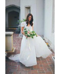 Robe de mariage tulle col en v