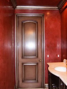 Venetian Plaster - Red Powder rooms traditional powder room
