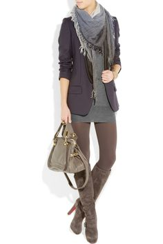 gray sweater dress, tights, suede boots, bag....