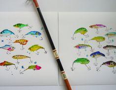 Fishing Lures Watercolor Art Print-Kid's by LimezinniasDesign