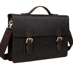 Image of Handmade Leather messenger bag, leather shoulder bag, leather briefcase (C1-9)