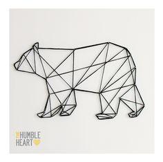 New tattoo geometric bear geometry ideas Geometric Bear Tattoo, Geometric Drawing, Geometric Art, Geometric Animal, Triangle Drawing, Tape Art, Bear Felt, Ideias Diy, String Art