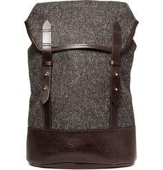 backpack | Cherchbi Tweed and Leather Backpack | Mens bags