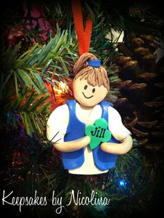 Daisy Girl Scout Ornament with Blue Smock by KeepsakesByNicolina, $12.00