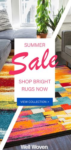 Summer Sale-- Bright Rugs area rugs colorful rugs For Sale Sign, Sale Signs, Fabric Rug, Porch Decorating, Decorating Ideas, Basement Renovations, Living Room Furniture, Kitchen Furniture, Cool Rugs