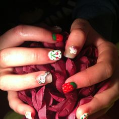 Nails I've done for Lollys 17th birthday... keys, cherries, sculpted acrylic flowers, fimo art and strawberries ... A happy teen !!