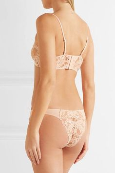 La Perla - Lace Story Leavers Lace And Stretch-jersey Briefs - Blush - 3