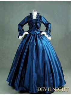 Blue Dress victorienne Jour à manches longues