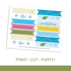 Cupcake Flag Toppers Printable DIY PDF - Under the Sea Birthday Party Aquarium Beach Theme by daintzy
