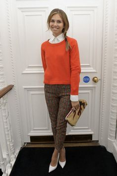 Dasha Zhukova in plaid pants