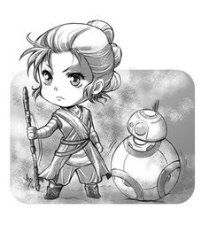 Chibi Rey and BB-8 Star Wars by lince