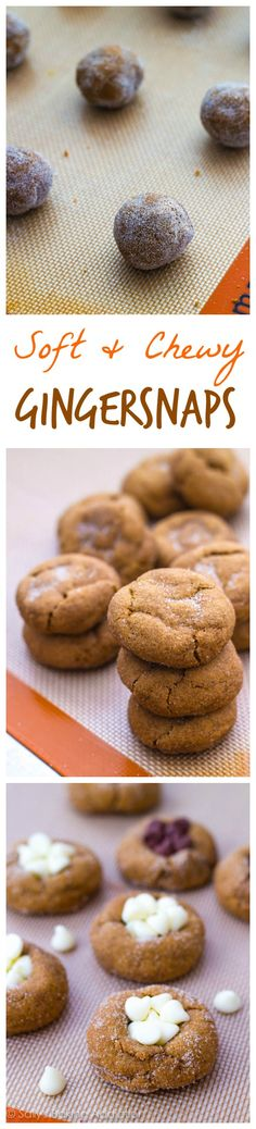 Soft & Chewy Gingersnap Molasses Cookies - try them plain, with white chocolate, butterscotch, or chocolate chips!