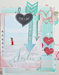Hybrid mini album using Heidi Swapp's Happy Valentine digital collections.