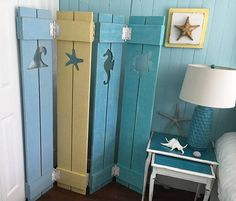 Shutter Screen Room Divider Painted OR Unpainted Beach Cottage