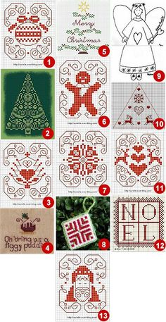 (1) Motif de Noel 4 from Aurelle. (2) Christmas tree from Le blog de Liselotte. (3) Motif de Noel 6 from Aurelle. (4) Figgy pudding primitive ornament from All My Scattering Moments. (5)Noel Sapin…