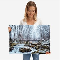 Frozen creek detailed, premium quality, magnet mounted prints on metal designed by talented artists. Our posters will make your wall come to life. Frozen, Poster Prints, Polaroid Film, Metal, Beautiful, Metals