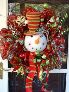 mesh snowman wreath | SnowMan Wreath | Christmas