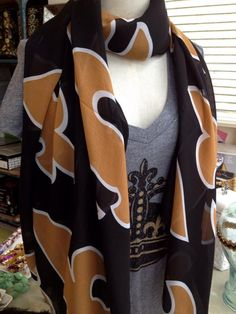 Fleurty Girl - Everything New Orleans - Black and Gold Large Print Fleur de Lis Scarf - Scarves - Footwear & Accessories Saints Gear, Who Dat, All Things New, New Orleans Saints, Football Season, Lsu, Large Prints, Mardi Gras, Tigers