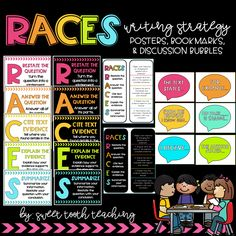 The RACES strategy is great for teaching students how to answer constructive response prompts! Races Writing Strategy, Race Writing, Fourth Grade Writing, Writing Strategies, Class Activities, Writing Activities, Teaching Resources, Teaching Ideas, Writing Resources
