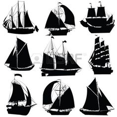 Segeln Schiffe Silhouetten Sammlung, isoliert Objekte auf weißen Hintergrund Stockfoto