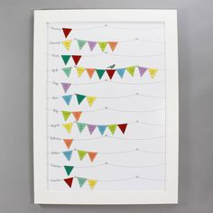 Birthday Calendar framed with brightly coloured bunting and white background by Wit and Wisdom UK