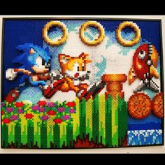 Sonic the Hedgehog perler wall art by at0msk