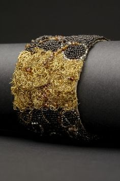 Woven Gold Couture Cuff by Andrea Gutierrez. Bead embroidery on Thai silk with new & vintage seed beads, pearls, woven gold filled wire, & semiprecious stones