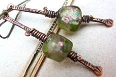 Tribal Stix. artisan earrings basha beads copper headpins turquoise pink rose green tribal primative wire jewelry on Etsy, $55.00