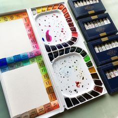 """""""Whenever I feel like painting but the mojo is gone, I organize. This time I finished setting up a new palette and painted a swatch map. Speaking of, these tube watercolors are dreamy! Mijello Mission Gold watercolors."""" - K Werner Design"""
