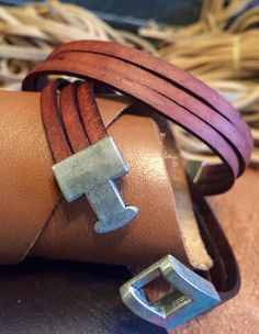 3 strand antique leather bracelet by NightWeaverCreations on Etsy