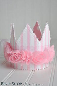 Fabric crown made with interfacing to stiffen it and help it stand up.
