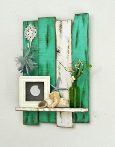Shelf - Pallet - Decorative Hook -teal (ocean) & White - Cottage Chic - Shabby…
