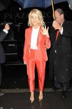 3 Ways to Make a Pantsuit Look Femme, Courtesy of Julianne Hough  Well tailored suit! I can wear this!