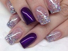 25 Glamorous Glitter Nail Arts for Christmas Everyone knows that glitter nail art is a constant favorite. Almost every girl and woman love to have glitter on their nails. Glitter can give an extra edge to your nail and send sparkles in dull mome Nail Design Glitter, Purple Glitter Nails, Purple Nail Art, Purple Nail Designs, Glitter Nail Art, Nail Art Designs, Nails Design, Purple Nails With Design, Purple And Silver Nails