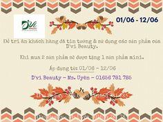 Khuyến mãi ngày 01/06 - 12/06 khi mua sản phẩm D'vi Beauty ~ D'vi Beauty - Mỹ phẩm y học cổ truyền