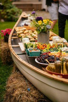 Top 30 Wedding Food Bars You'll Love outdoor buffet in a canoe rustic wedding decor / www. Outdoor Buffet, Outdoor Food, Rustic Buffet, Rustic Outdoor, Outdoor Ideas, Decoration Buffet, Party Decoration, Table Decorations, Wedding Food Bars