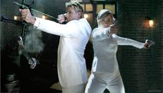 Chlollie (Chloe Sullivan and Oliver Queen) in white Suits.