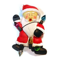 Santa Claus wrapped in lights brooch by maggiescornerstore on Etsy, $8.00