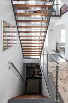 1000 images about modern staircases on pinterest for Basement floor plans with stairs in middle